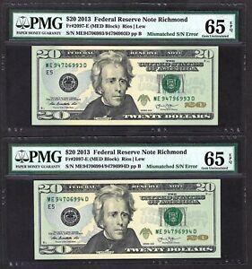 (2) Consecutive S/N 2013 $20 ERROR NOTES ♚♚MISMATCHED S/N♚♚ PMG GEM UNC 65 EPQ