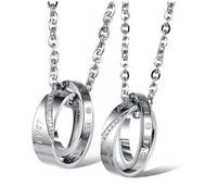 Coppia Collana Lui e Lei Acciaio Anelli Fidanzamento Cuore Uomo Donna Incisione