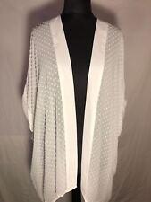 Long Cardigan Type Loose Floaty Open Front Chiffon Jacket Ivory/Cream Sizes 8-20