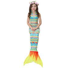 Kids Girls 3Pcs Mermaid Tail Swimming Bikini Set Swimwear wi/ Mono Fin Swimmable