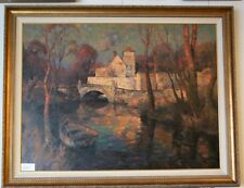 """Mill in Provence"" by Leon Roulette Oil on Canvas 43"" x 56"" Signed Painting"