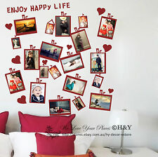 20 PCs Picture Photo Frame Set Wall Black Sticker Vinyl Decal Decor Home Art DIY