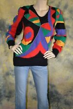 vtg 80s SEXY GLAM angora blend RHINESTONES bright BLACK SWEATER S CHRISTINE