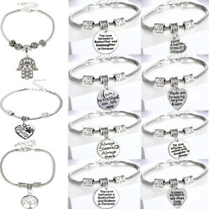 Mother Daughter Dad Heart Paw Pendant Bracelet Friend Chain Bangle Family Love