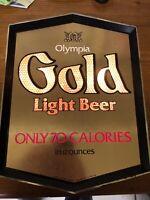 Vintage 1982 Olympia Gold Light Beer Lighted Sign * Works *