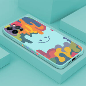 Watercolor Smiley Silicone Phone Case For iPhone 12 Pro MAX 11 XS XR X 8 7 Cover