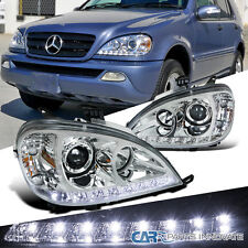 1998-2001 Benz W163 ML320 ML430 ML55 AMG Chrome SMD LED DRL Projector Headlights