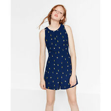 ZARA SHORT JUMPSUIT ROMPER WITH OPEN BACK NAVY CACTUS PRINT LINED playsuit NWT L