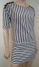MAJE bleu marine & blanc en coton à rayures encolure dégagée 3/4 Manche Courte Mini Robe S