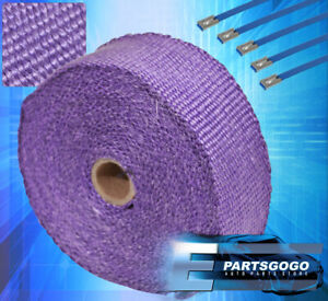 "360"" 30Ft Catalytic Converter Exhaust Header Heat Wrap Shield Cover Roll Purple"