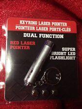 Dual Function Laser Pointer & Super Bright LED Flashlight Key Chain W/Batteries
