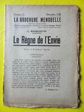 Anarchie La Brochure Mensuelle 72 1928 L. Barbedette Le Règne de l'Envie