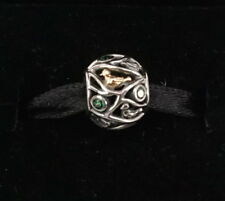 Authentic PANDORA Sterling Silver Birds of a Feather Dark Green Charm 791213CZN