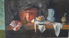 Vintage Original Still Life Oil Painting Kitchen Table Food