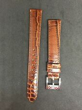 New Genuine Burberry Brown Leather Watch Strap with Silver Tone Buckle 15mm