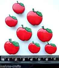RED APPLES Craft Buttons 1ST CLASS POST Fruit Summer Garden Food Cooking Pie
