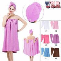 Women Soft Spa Bath Body Wrap Set Towel Bathrobe W/ Fast Dry Hair Drying Cap New