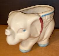 "VTG USA Pottery Planter Small 4""  LUCKY Elephant White Blue 4"" X 6"""