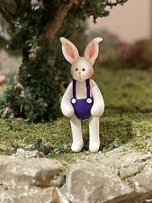 Vintage Miniature Dollhouse Artisan Julie Stevens White Rabbit Doll Shelf Sitter
