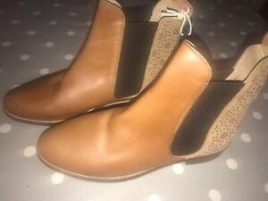 JOULES Chelsea Westbourne Tan / Geo Suede Leather Boots Sz 6 RP£140 FreeUKP&P