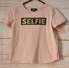 Bardot Junior Flip Sequin T-shirt  Size 7 Pink Short Sleeve Gold Black Selfie