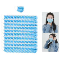 100x Adults 3-Layer Disposable Face Mask Breathable Anti Dust Mouth Cover Shield