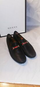 Gucci Horsebit Men's Leather Web Horse Bit Black Driving Loafer Shoes 11g Damo