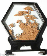 Vintage ? Antique China Carved Cork Diorama Bird Tree Temple Hexagon Glass Wood