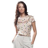 Top Haut T-shirt satin femme Beige à Pois été B17 NIFE tailles 36 38 40 42 44