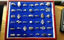 Huge lot of 42 sterling rings wide variety