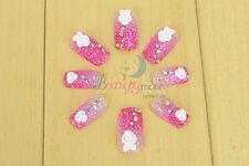 24Pcs Diamonds HandMade Artificial Full False Stick Fake Acrylic Nail Art Tips