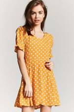 Forever 21 Mustard Polka Dot Print Dress Small S