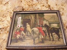 Vintage Fox Hunt Print With Thermometer Framed