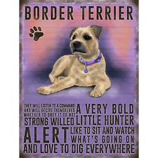 Vintage Style Metal Dog Sign Retro Hanging Plaque Breed Characteristics - 20cm Border Terrier
