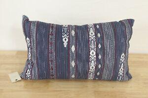 "Lucky Brand 14"" x 22"" Decorative Bed Pillow Kantha Stripe Rinse Blue J97045"