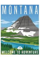 Montana Welcome To Adventure Retro Travel Art Mural Poster 36x54 inch