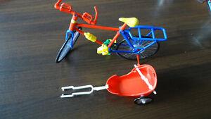 Fahrrad mit Anhänger für Barbiepuppen