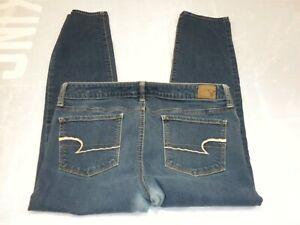 American Eagle Womens Jeans 12 Short Blue Denim Skinny Super Stretch