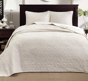 IVORY MATELASSE 3pc Queen XXL BEDSPREAD SET : COTTON FILL QUILT COVERLET BEDDING