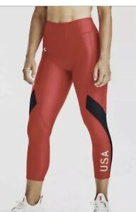 UNDER ARMOUR Women's Heat Gear Hi-Rise USA Crop Compression Leggings Sz XS NWT