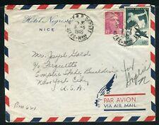 France - Enveloppe par avion de Nice pour New York en 1949 - ref D117