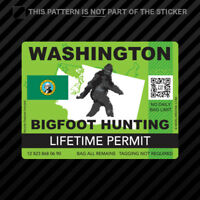 Washington Bigfoot Hunting Permit Sticker Self Adhesive Vinyl Sasquatch Lifetime