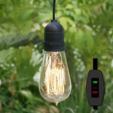 15FT Black Commercial Grade Outdoor Pendant Light Lamp Cord E26 (On/Off Switch)