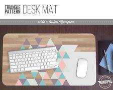 """Pastel Triangle Wood Pattern Print Desk Mat 12"""" x 22"""" Extended Mousepad"""