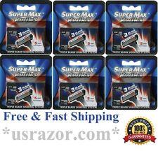 30 Supermax Kwik3 Refills BLADE Razor fit Gillette Sensor Excel Cartridge Shaver