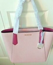 Michael Kors KIMBERLY Large Bonded Zip Top Tote Bag in Blossom /Tulip Pink