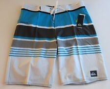 NWT Quiksilver Men's 32  Board Shorts Everyday Striped Stretch Black Blue White