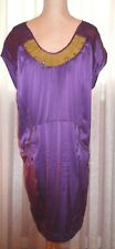 SEE BY CHLOE FAB SILK DRESS, PURPLE WITH TOUCH OF MUSTARD COLOR AROUND NECK, min
