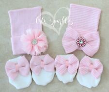 TWO Newborn Girl baby hats & big bow mittens set pink bows infant flower beanie