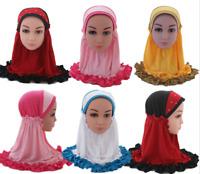 Kids Children  Muslim Hijab Caps Headwear Girls Wrap Shawls Arab Hijab